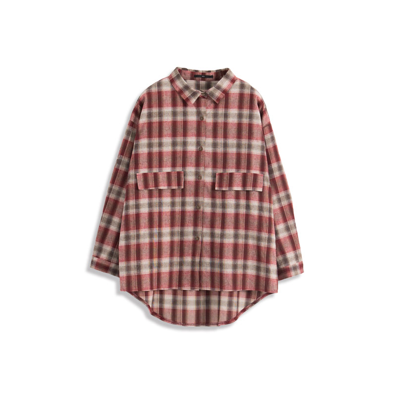 QUEEN SHOP - Color plaid double pocket style long sleeve shirt two ... 22213d96c36